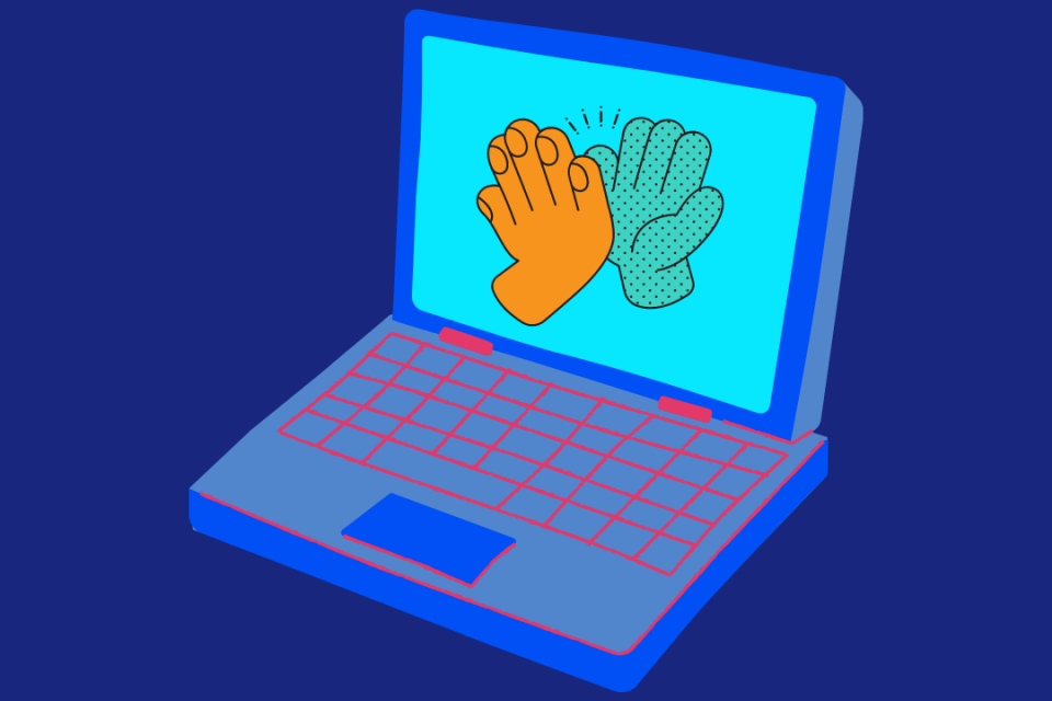 image of laptop with two hands on the screen giving a high five.